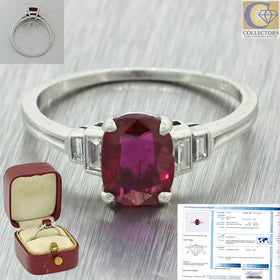 Tiffany & Co Platinum 1.14ct Cushion Cut No Heat Burma Ruby Diamond Ring AGL