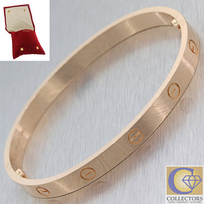 Authentic Cartier 18K Rose Gold New Style Love Bangle Bracelet Size 19 wPouch F8