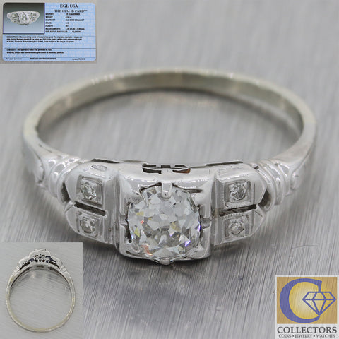 1930s Antique Art Deco 14k White Gold .59ct Diamond Engagement Ring EGL M8 $2800