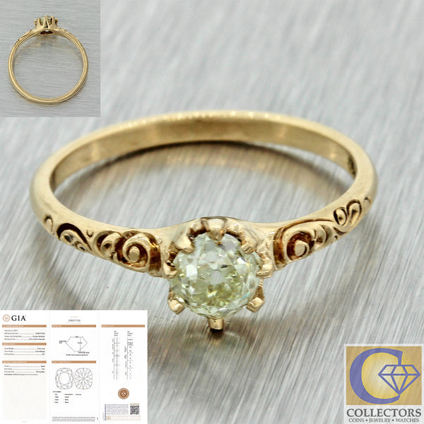 1880s Antique Victorian 14k Solid Gold .72ct Cushion Warm Diamond Ring GIA