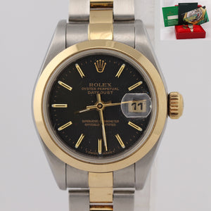 Ladies Rolex DateJust 79163 Steel 18k Gold Two Tone 26mm Tapestry Black Watch N8