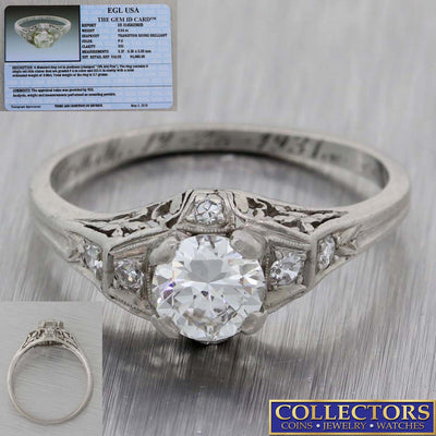 1920s Antique Art Deco Platinum .63ctw Round Diamond Engagement Ring EGL Y8