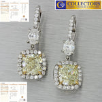 Modern Solid Platinum 8.03ctw Cushion Cut Diamond Hanging Earrings GIA