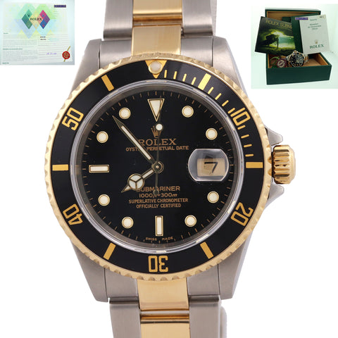PAPERS Rolex Submariner 16613 Two Tone Steel 18k Gold Blue SEL No Holes Watch N8