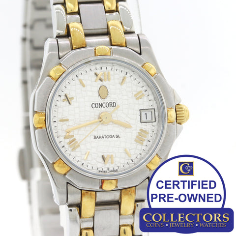 Ladies Concord Saratoga SL 18k Yellow Gold Steel 23.5mm Date Watch 15-36-275 S8