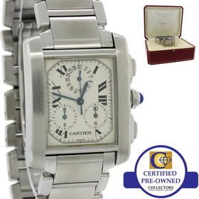 Cartier Tank Francaise ChronoFlex 2303 Stainless Steel Roman Quartz 28mm Watch w