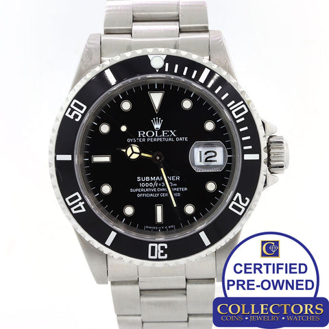 Rolex Submariner Date 16610 Stainless Steel Pre-Ceramic 40mm Black Watch S8