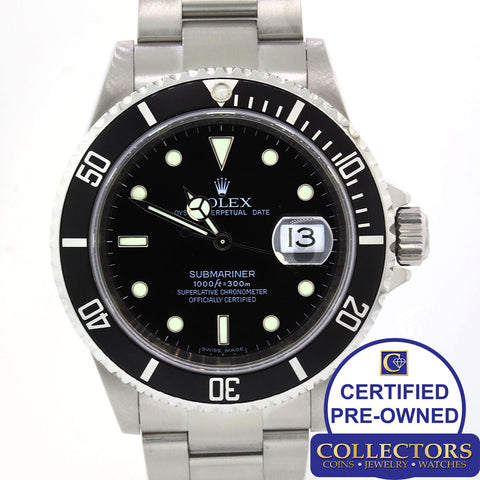 MINT ENGRAVED Rolex Submariner Date 16610 T Steel Dive Watch SEL Pre-Ceramic S8