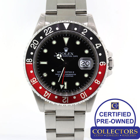 MINT Rolex GMT-Master II Coke Red Black Steel 16710 Date 40mm Oyster Watch S8