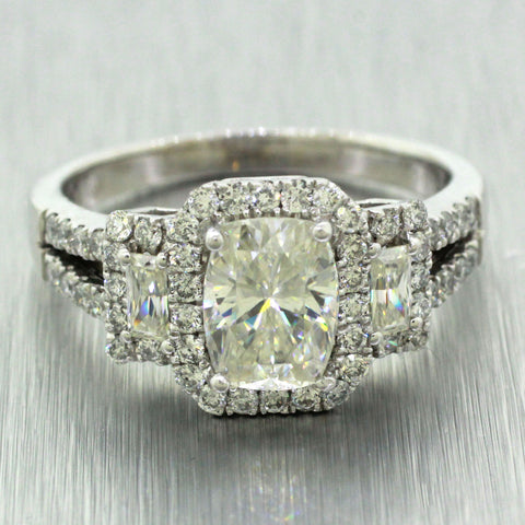 Vintage 14k Solid White Gold 1.75ct Moissanite & 1.00ctw Diamond Engagement Ring