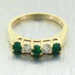 Vintage Estate 14k Solid Yellow Gold 0.30ctw Emerald & 0.20ctw Diamond Band Ring
