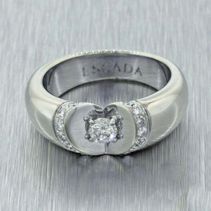 Modern Designer Escada 18k Solid White Gold 0.35ctw Diamond Heart Band Ring