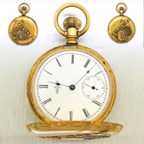 Antique 14k Solid Yellow Gold  0.10ctw Diamond Elgin 38184 Pocketwatch