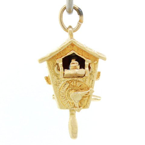 Vintage Estate 14k Solid Yellow Gold 4.1g Movable Cuckoo Clock Charm Pendant