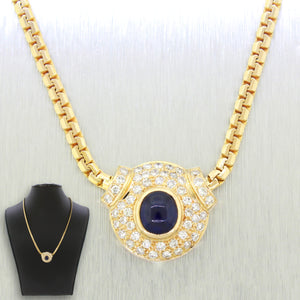 Vintage 14k Solid Yellow Gold 1.00ct Sapphire & 1.25ctw Diamond Pendant Necklace