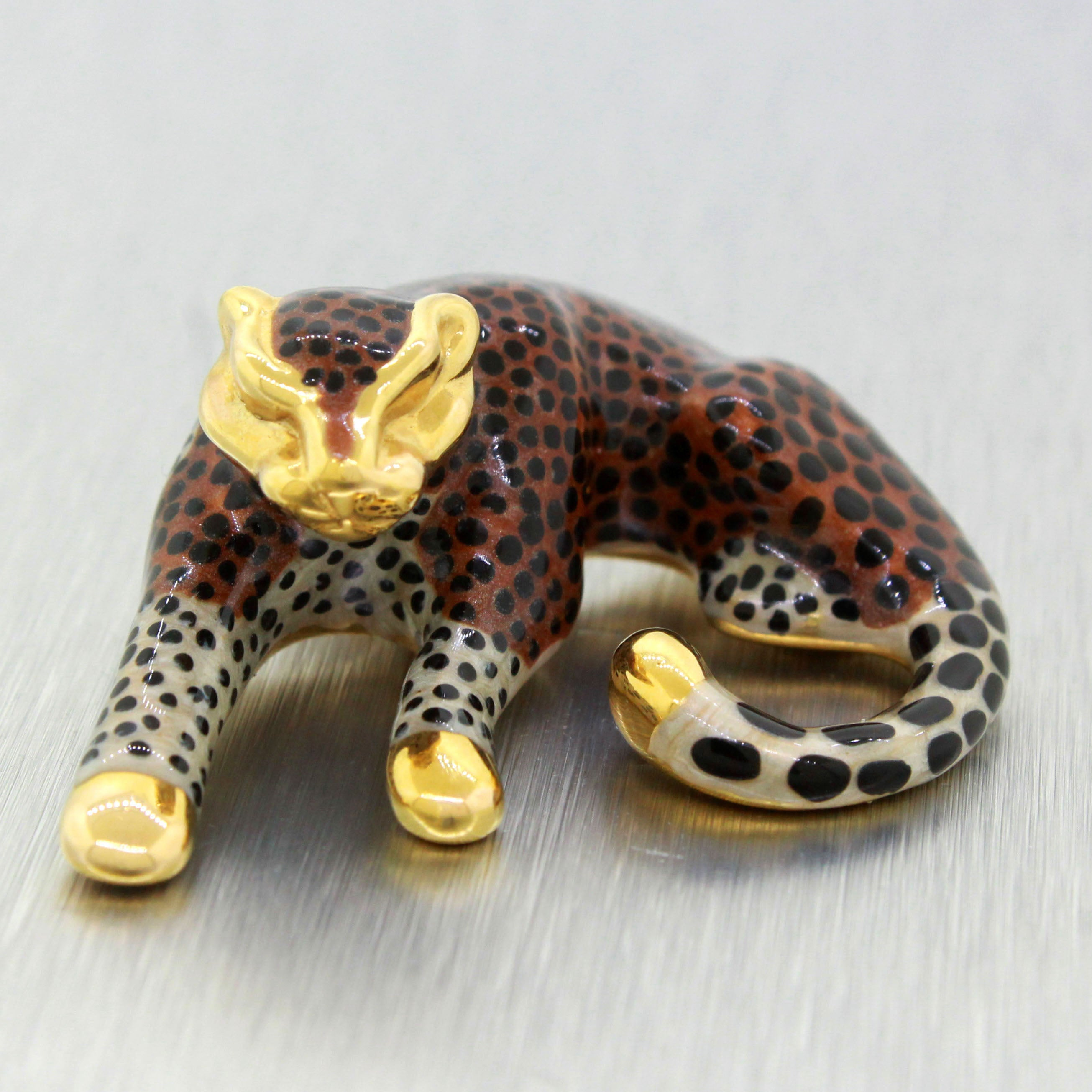 Vintage Estate 14k Solid Yellow Gold and Enamel 3.9g Cheetah Pendant