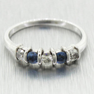 Vintage Estate 14k Solid White Gold 0.30ctw Diamond & Blue Topaz Band Ring