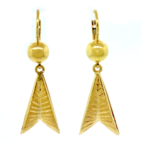 1960s Vintage Estate 18k Solid Yellow Gold 5.4g Fishtail Drop Dangle Earrings