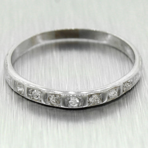 Antique Edwardian 18k Solid White Gold 0.14ctw Diamond Wedding Band Ring