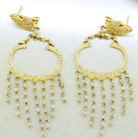 Vintage Estate 18k Solid Yellow Gold 3.30ctw~ Diamond Jellyfish Dangle Earrings