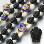 Vintage Estate 14k Solid Yellow Gold Onyx & Lapis Lazuli Beaded Necklace