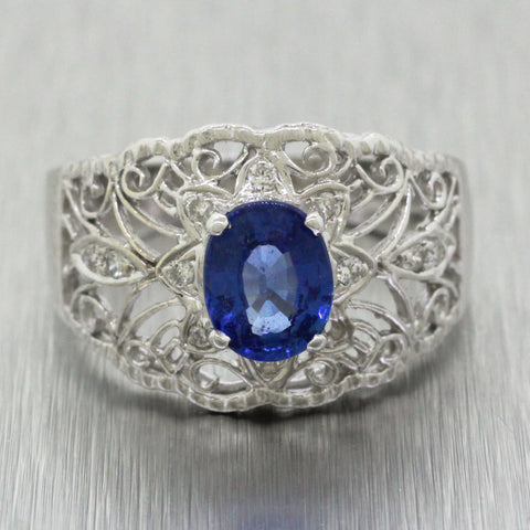 Vintage Estate 18k White Gold 1.00ct Sapphire and Diamond Filigree Band Ring