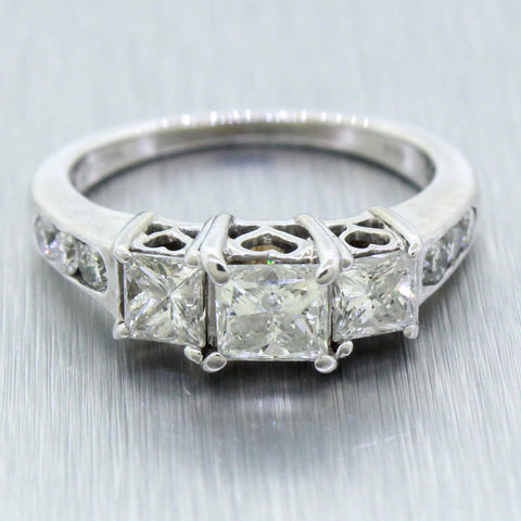 Vintage 14k White Gold 1.30ctw Diamond Past Present Future Engagement Ring