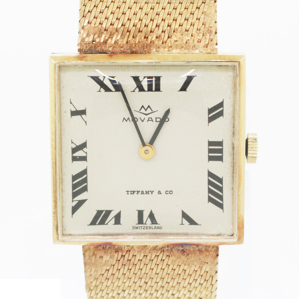 Vintage Movado Tiffany & Co. 14k Solid Yellow Gold Classique Square 378 Watch