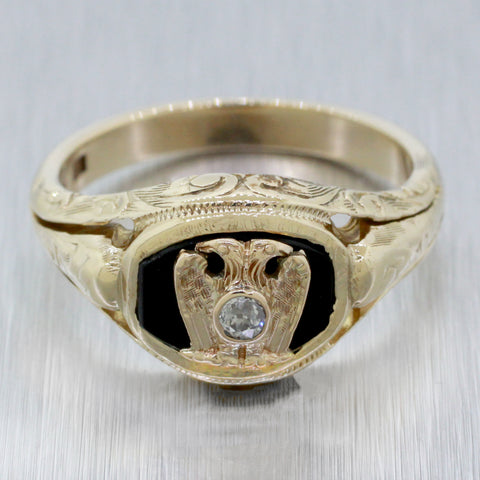 Antique 10k Yellow Gold 0.05ct Diamond and Onyx Imperial Ring | Size 9.75