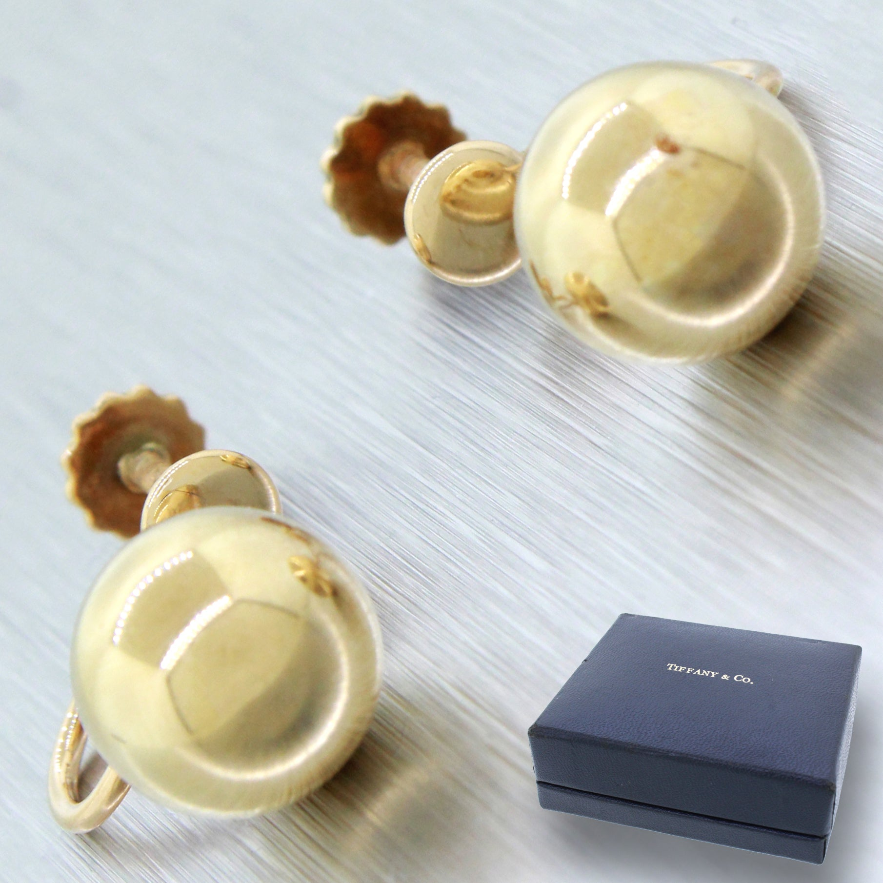 Vintage Tiffany & Co. 14k Solid Yellow Gold Ball Earrings with Box