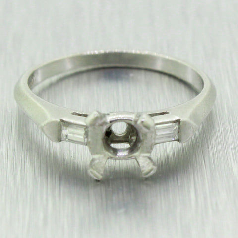 Vintage Estate Platinum 0.16ctw Diamond Accent 1.00ct Ring Mounting