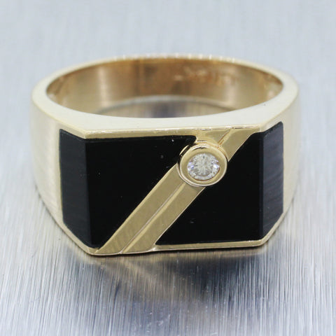 Men's Vintage 14k Solid Yellow Gold 0.10ct and Onyx Band Ring