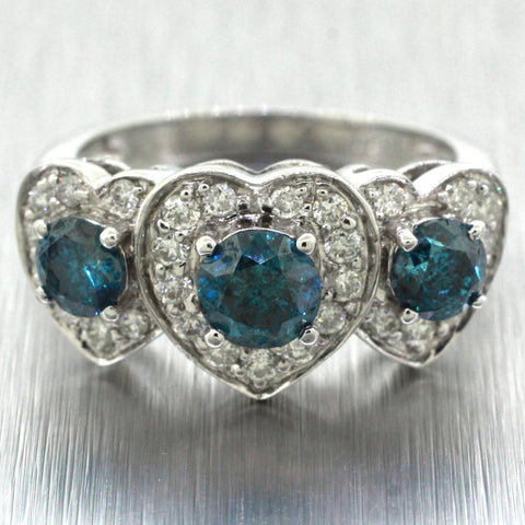 Vintage Estate 18k Solid White Gold 1.50ctw Diamond & Blue Diamond Heart Ring