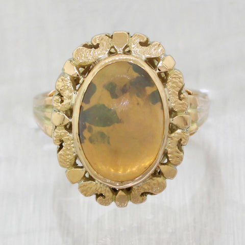 Vintage 14k Yellow Gold 5ct Yellow Cabochon Opal Cocktail Ring