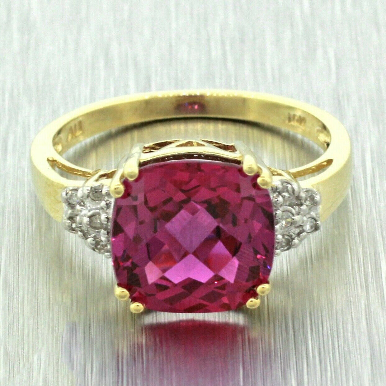 Vintage Estate 10k Solid Yellow Gold Pink Purple Sapphire Diamond Ring