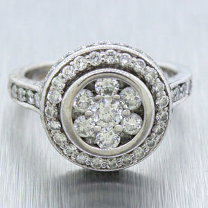 Vintage Estate 18k Solid White Gold 2.00ctw Diamond Halo Engagement Ring