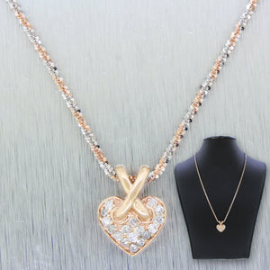 Vintage Estate 14k Solid White Rose Gold 0.50ctw Diamond Heart Pendant Necklace