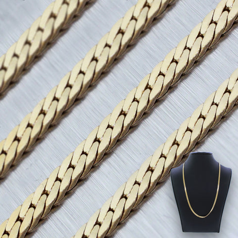 "Modern 14k Solid Yellow Gold 17"" Herringbone Link Chain Necklace 9.9g"