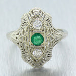 Antique Art Deco 14k White Gold 0.15ct Emerald & Diamond Filigree Ring
