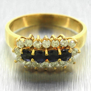 Vintage Estate 14k Solid Yellow Gold 0.40ctw Sapphire & 0.80ctw Diamond Ring