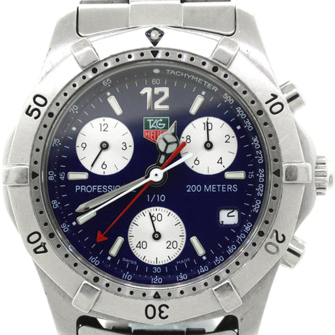 Tag Heuer Professional CK1112-0 Blue Face Stainless Steel Quartz Chronograph Wat