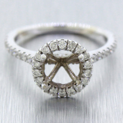 Modern 14k Solid White Gold 1.00ctw Diamond Halo 1.50ct Ring Setting