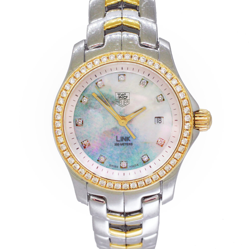 Tag Heuer Link Two-Tone Diamond Mother of Pearl Watch WJF1354.BB0581 w/ Box