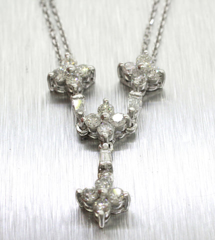 Vintage Estate 14k Solid White Gold 1.65ctw Diamond Drop Pendant Necklace