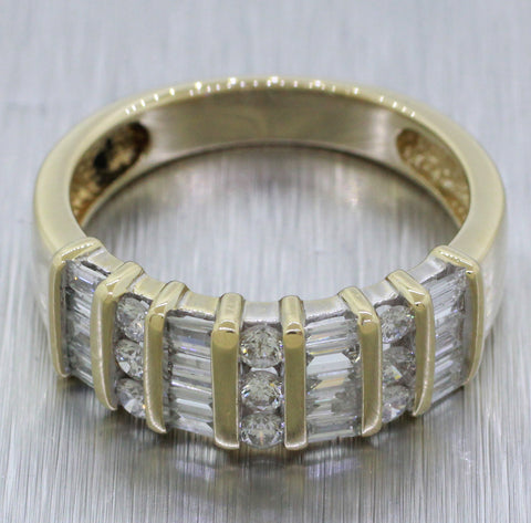 Vintage Estate 14k Solid Yellow Gold 1ctw Diamond Cluster Band Ring