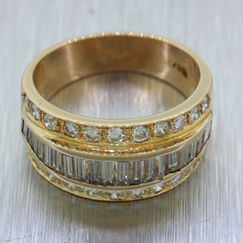 Vintage Estate 18k Solid Yellow Gold 2.00ctw G VS2 Diamond Band Ring