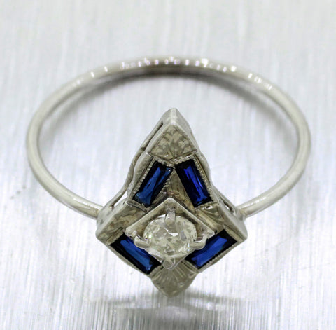 Antique Art Deco 18k White Gold 0.20ctw Diamond & Sapphire Pin Conversion Ring
