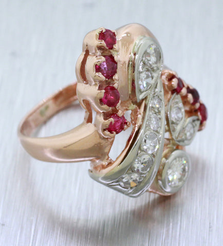 Antique Art Deco 14k 1.00ctw Diamond and 0.50ctw Ruby Cocktail Ring