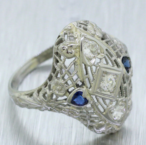Art Deco 18k White Gold 0.30ctw Diamond and Sapphire Filigree Cocktail Ring