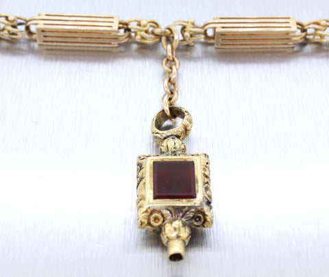 "Antique Victorian 14k Solid Yellow Gold FOB Opal and Carnelian Pendant 16"" Necklace"